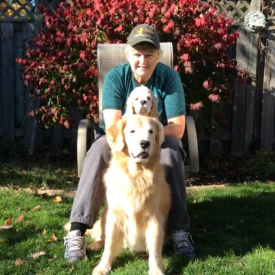Valerie Barker with Murphy and Sassy